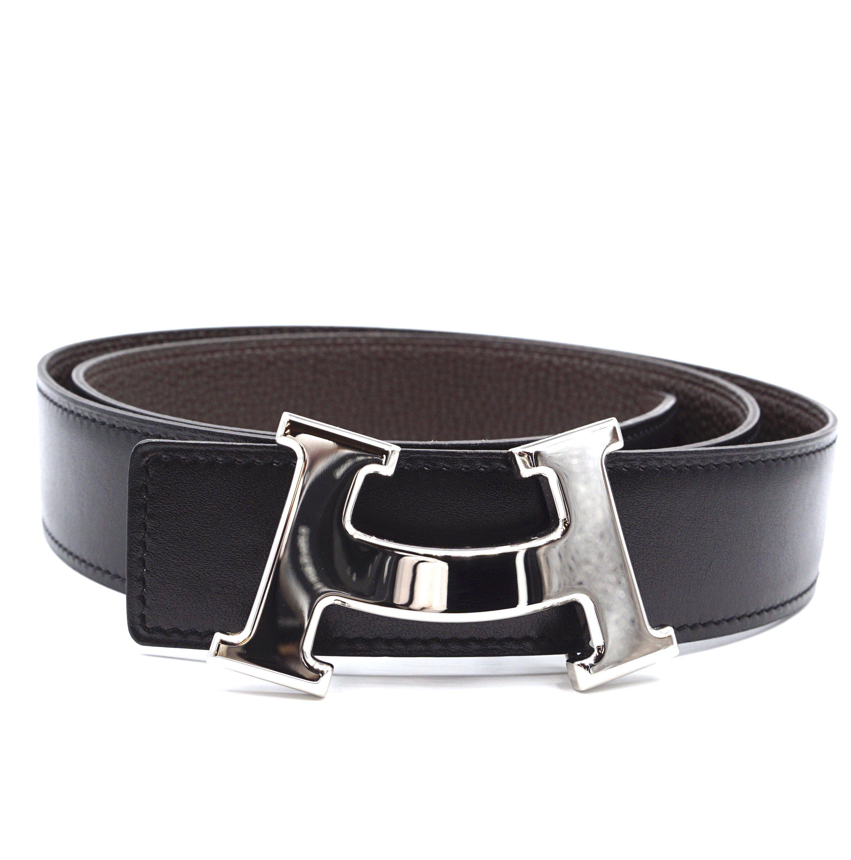 Reversible Leather Belt Silver