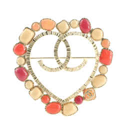 CC Heart Cut-Out Brooch Metal with Cabochons