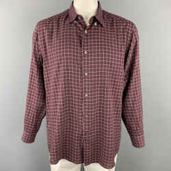 ERMENEGILDO ZEGNA Size XXL Burgundy & Cream Window Pane Cotton Long Sleeve Shirt