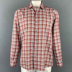 ERMENEGILDO ZEGNA Size XL Red & White Plaid Cotton Long Sleeve Shirt