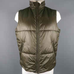 Y-3 Xl Olive Solid Two Toned Nylon Zip Up & Hood Vest