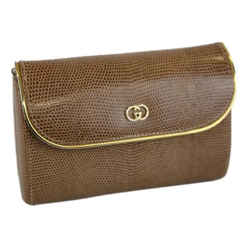 Gucci Chain Wallet Shoulder Bag Leather Two-way Vintage Evening Beige Lizard Clutch