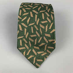 Gianni Versace Green & Beige Geometric Print Silk Tie
