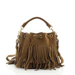 Fringe Emmanuelle Bucket Bag Suede Small