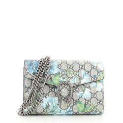 Dionysus Chain Wallet Blooms Print GG Coated Canvas Small