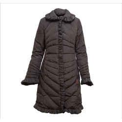 Brown Ruffle Trim Coat