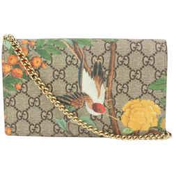 Gucci GG Supreme Monogram Tian Wallet on Chain Crossbody Flap Bag 594ggs615