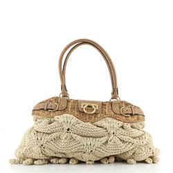 Marisa Satchel Crochet with Wicker Large