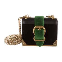 Prada Bandoliera Nero Alloro Velluto City Velvet Mini Handbag 1BH058