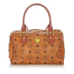 Vintage Authentic MCM Brown Calf Leather Visetos Boston Bag Germany