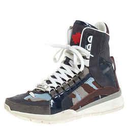 Dsquared2 Multicolor Nubuck, Suede And Nylon Camo Kick It Logo 551 Sneakers S...