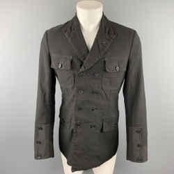 COMME des GARCONS HOMME PLUS Size M Black Linen / Polyester Peak Lapel Double Breasted Jacket