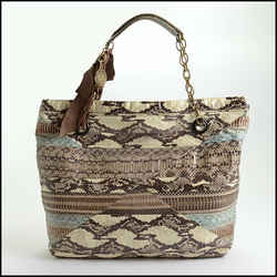Rdc10511 Authentic Lanvin Brown/beige Watersnake Tote Bag W/chain Strap