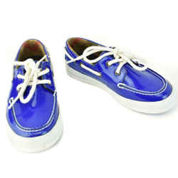BURBERRY Kid's: Royal Blue, Patent Leather & Logo Boat Shoes Sz: 11.5M