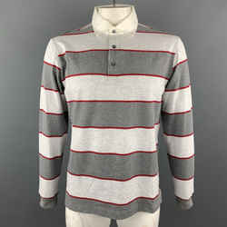 Loro Piana Size Xl Grey Stripe Cotton Half Buttoned Long Sleeve Polo