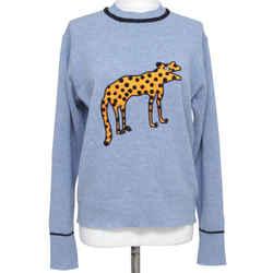 VICTORIA VICTORA BECKHAM Sweater Long Sleeve Animal Blue Black Wool Sz XS