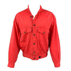 Versace Vintage Jeans Couture Size Xxl Red Cotton Trucker Jacket