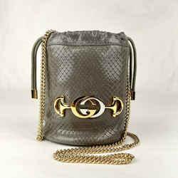 Gucci Zumi Gray Snakeskin Mini Drawstring Bucket Chain Bag 576432 1275