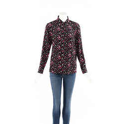 Saint Laurent Top Multicolor Black Star Print Silk SZ 40