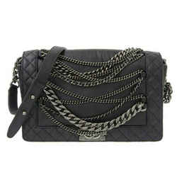 Auth Chanel Lambskin Boy Chanel Chain Shoulder Bag Black 18s Leather
