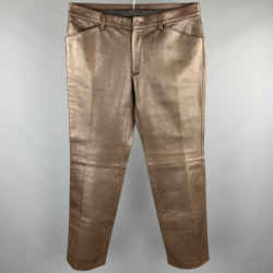 Dolce & Gabbana Size 36 Brown Leather Flat Front Pants