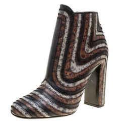 Salvatore Ferragamo Multicolor Leather Feeling Zig Zag Block Heel Ankle Boots