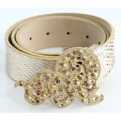 Just Cavalli Leather Belt with Gold Snake Buckle