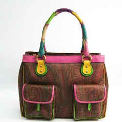 Etro Leather,pvc Handbag Brown,multi-color Bf510430