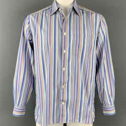 ERMENEGILDO ZEGNA Size M Lilac & Blue Stripe Cotton Button Down Long Sleeve Shirt