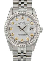 Rolex Mens Datejust Steel Diamond Dial Diamond Bezel 36mm Watch