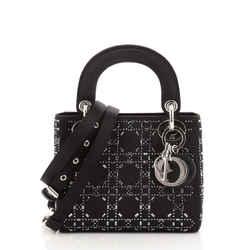 Lady Dior Bag Crystal Embellished Cannage Quilt Satin Mini