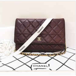 CHANEL Caviar Wallet on Chain in Dark Bordeaux with Gold Hardware Crossbody Handbag