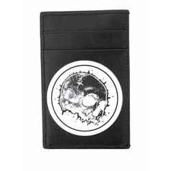 NEW $195 ALEXANDER MCQUEEN Black Leather SKULL Printed Motif CARD CASE