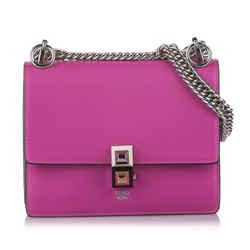 Pink Fendi Kan I Leather Shoulder Bag