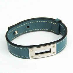 Hermes Leather,Metal Bangle Blue Jean,Silver BF530339