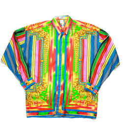 Gianni Versace - Vintage Silk Dress Shirt - Neon Stripe - Mens US Medium - 48