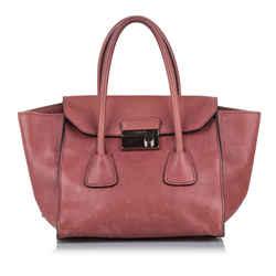 Pink Prada Sound Lock Leather Handbag Bag