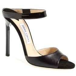 Jimmy Choo Ankle Strap Deckle Black Leather High Heel Sandals Sz 40 10 Nib $795