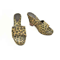 "Fendi: Brown, Leopard & ""ff"" Logo Wedge Sandals/heels Sz: 8m"