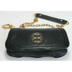 Tory Burch Women's Black Amanda Logo Leather Clutch