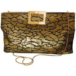 Roger Vivier Paris Gold Sequins Black Satin Clutch Evening Bag with Dust Cover