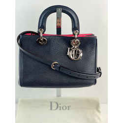 CHRISTIAN DIOR Small Leather Diorissimo Navy Crossbody Hand Bag B157