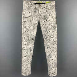VERSACE JEANS Size 30 Grey & White Print Cotton Jean Cut Slim Fit Casual Pants