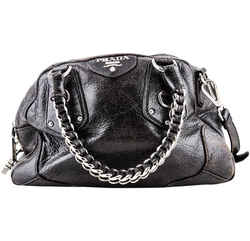 Prada Cervo Lux Dark Brown Leather Chain