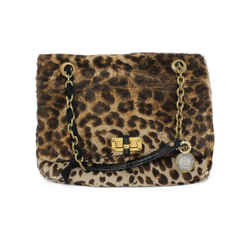 Lanvin Brown and Beige Pony Fur Shoulder Bag