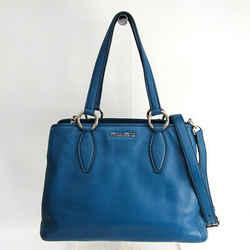Miu Miu Rr1945 Women's Leather Handbag Blue Bf507695