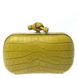 Bottega Veneta Citrus Green Crocodile Knot Clutch