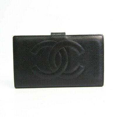 Chanel A01429 Women's Caviar Leather Long Wallet (bi-fold) Black BF529214