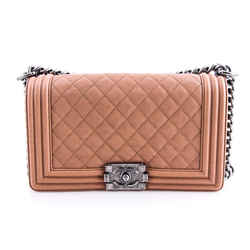 CHANEL Quilted M Boy Flap Shoulder Bags Brown One Size Authenticity Guaranteed