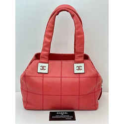 Chanel Quilted Caviar Square Stitch Medium Satchel Tote Rose Pink Pre-owned